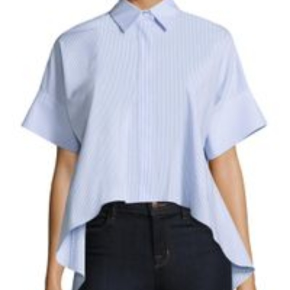 a5172b3b66f7a Alice + Olivia Tops - Alice + Olivia Edyth Button Front High-Low Shirt